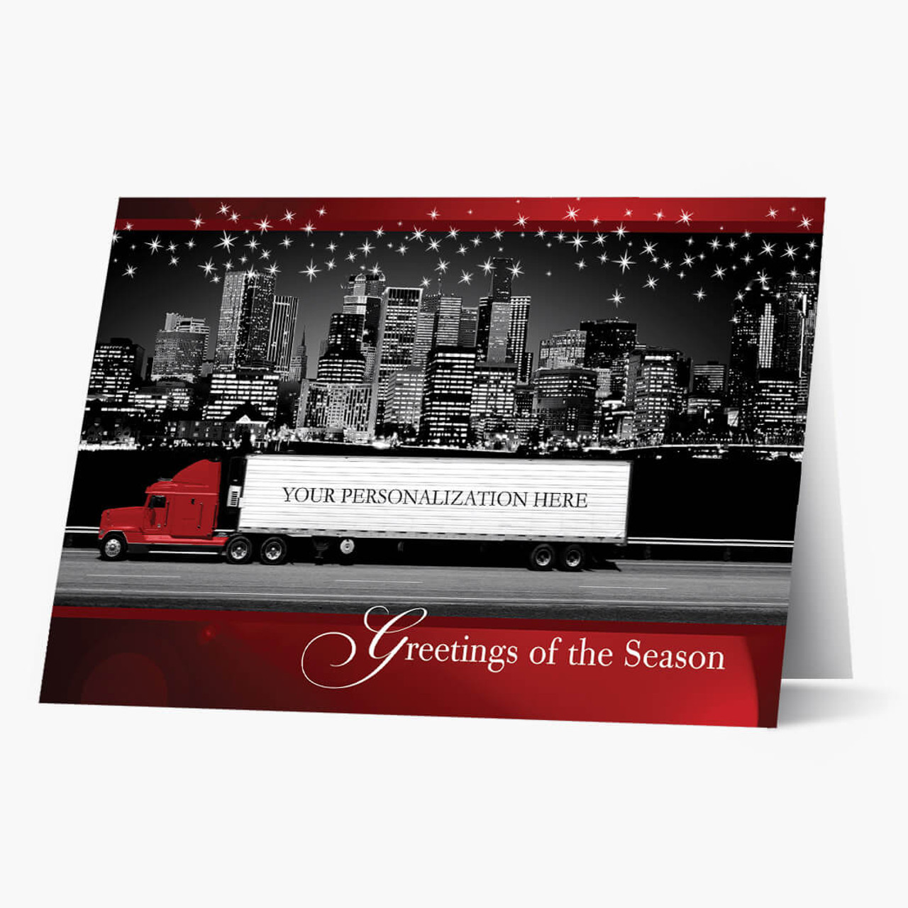 Red Contemporary Semi Christmas Card