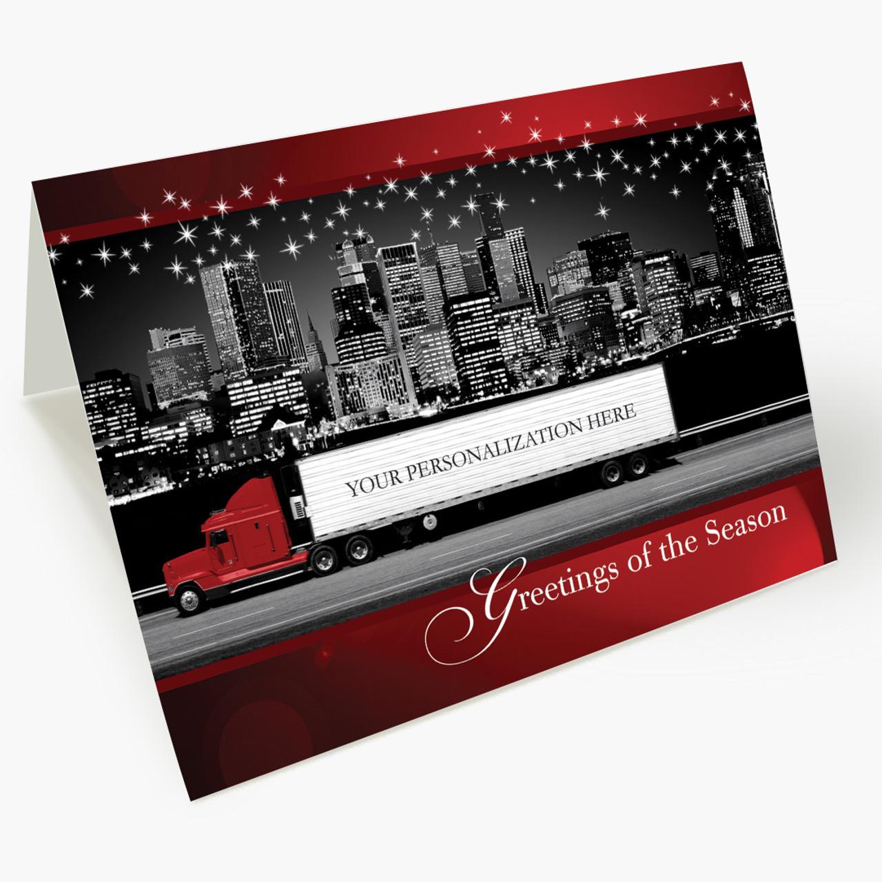 Red Contemporary Semi Christmas Card