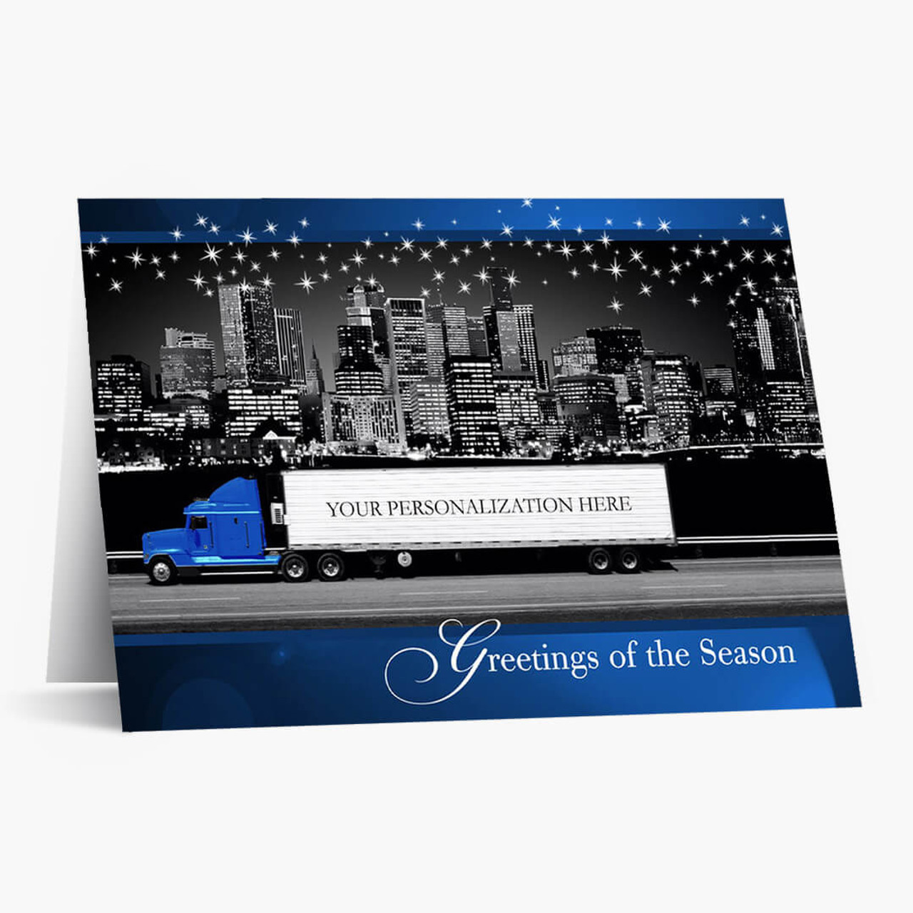 Blue Contemporary Semi Christmas Card