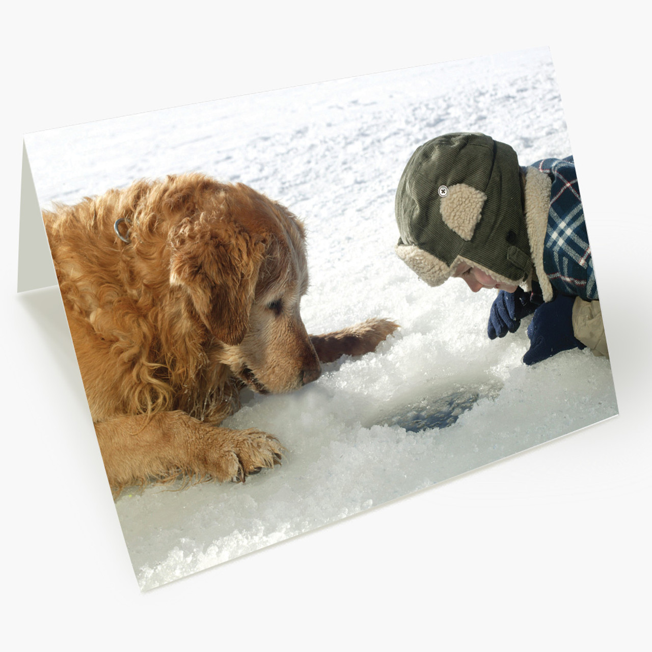 Boy and Dog Ice Fishing Christmas Card
