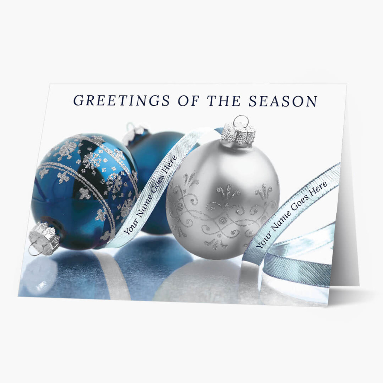 Blue and Silver Ornaments Christmas Card