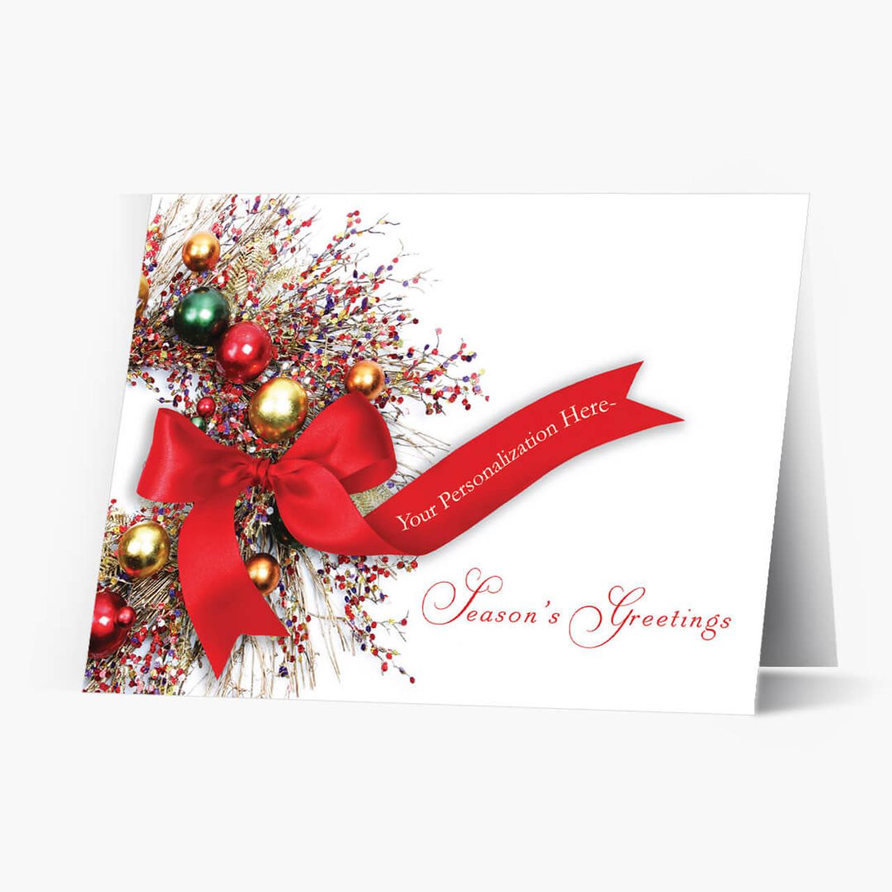 Season's Greetings Wreath Christmas Card