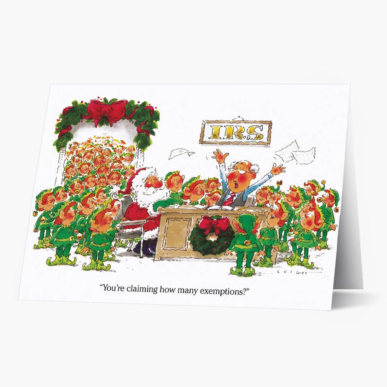 Elves Exempt Christmas Card