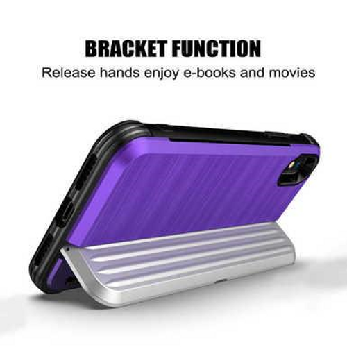 Shield Case For IPhone X/XS Cover Card Holder Hard PC Soft Silicone Fitted Cases, Blue + Silver