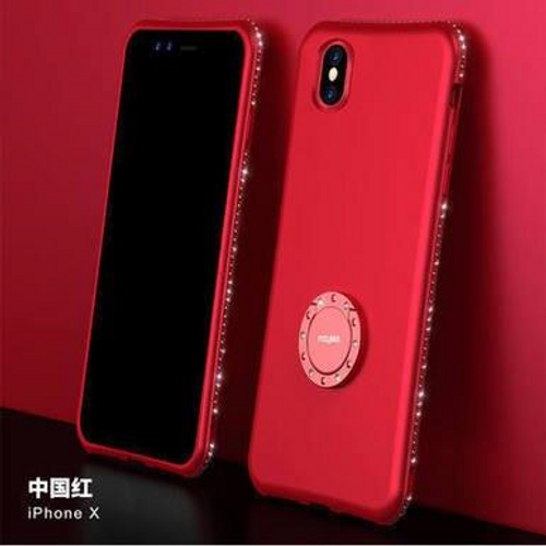 Finger Ring Rhinestone Silicone Glitter Matte Diamond Case Soft TPU Cover For iPhone XR, Red