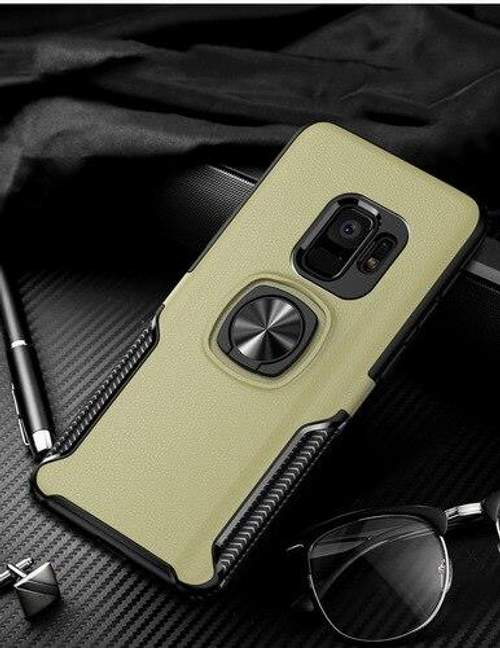 Finger ring magnetic suction case for Galaxy S9, Gold