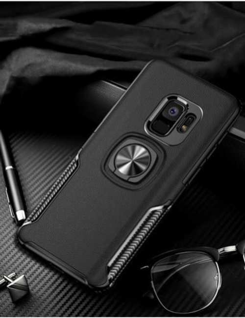 Finger ring magnetic suction case for Galaxy S9, Black