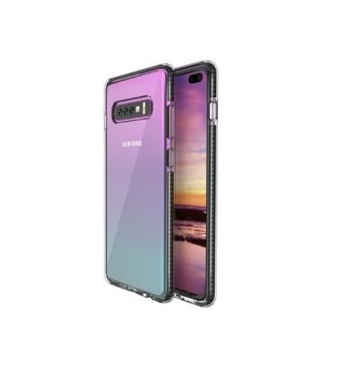 Two Anti Color Clear TPU Cell Phone Case Hybrid Armor Shockproof Cover Soft Case for Samsung S10, Black
