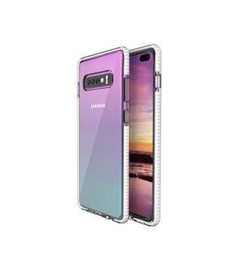 Two Anti Color Clear TPU Cell Phone Case Hybrid Armor Shockproof Cover Soft Case for Samsung S10, white