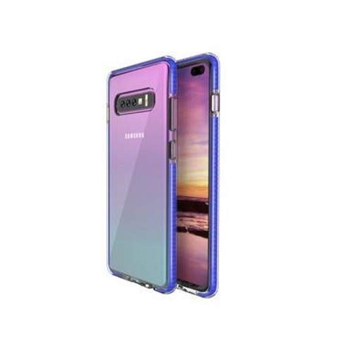 Two Anti Color Clear TPU Cell Phone Case Hybrid Armor Shockproof Cover Soft Case for Samsung S10, Blue
