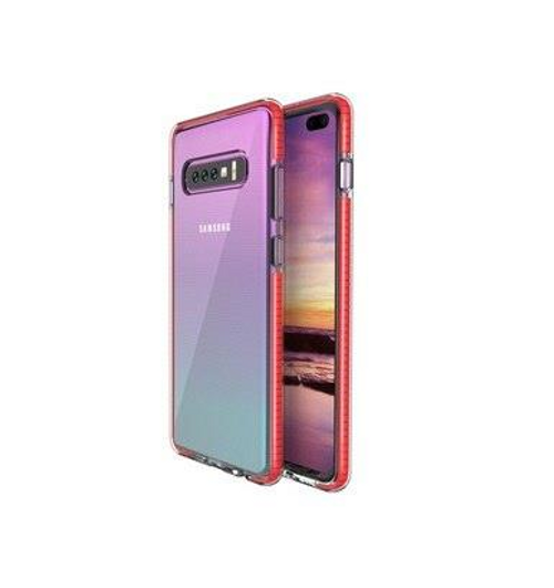 Two Anti Color Clear TPU Cell Phone Case Hybrid Armor Shockproof Cover Soft Case for Samsung S10, Red