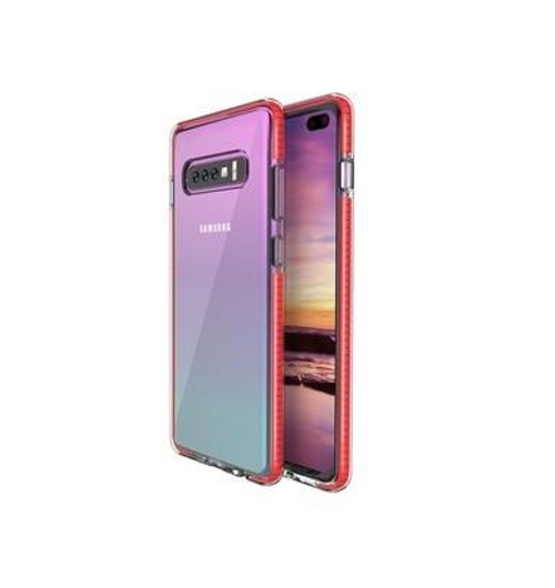 Two Anti Color Clear Cell Phone Case Shockproof Cover Soft Case for Samsung S10 Plus, Red