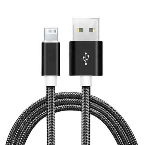 Black, 6 Ft Lightning USB Charging Sync Data Cable With Retail Packing