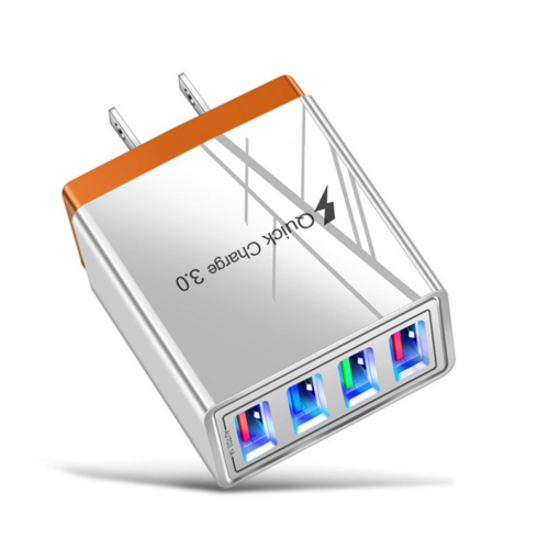Orange, QC 3.0 Fast Mobile Wall Charger 4 USB Ports