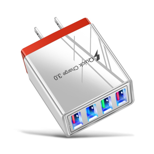 Red, QC 3.0 Fast Mobile Wall Charger 4 USB Ports