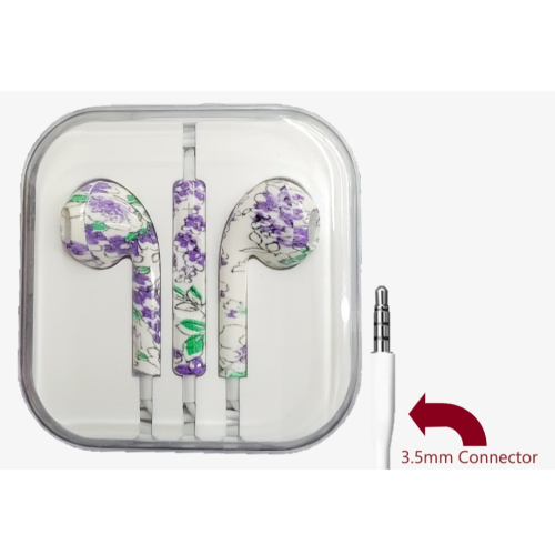 Flower Painted 3.5mm earphones Noise Control Music Wired Mobile Phone Colorful Flower Pattern
