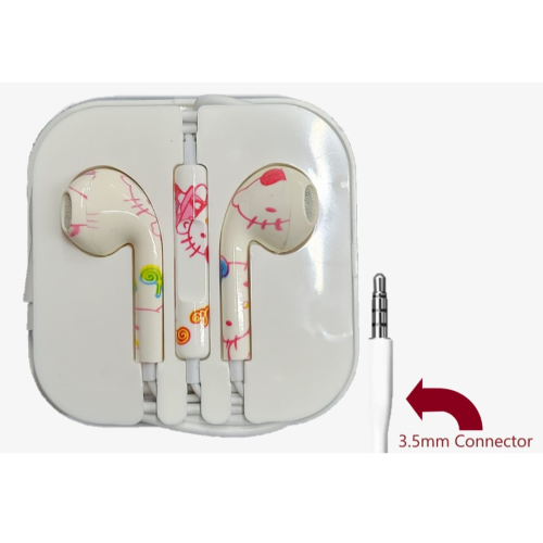 Cartoon Painted 3.5mm earphones Noise Control Music Wired Mobile Phone Colorful Flower Pattern