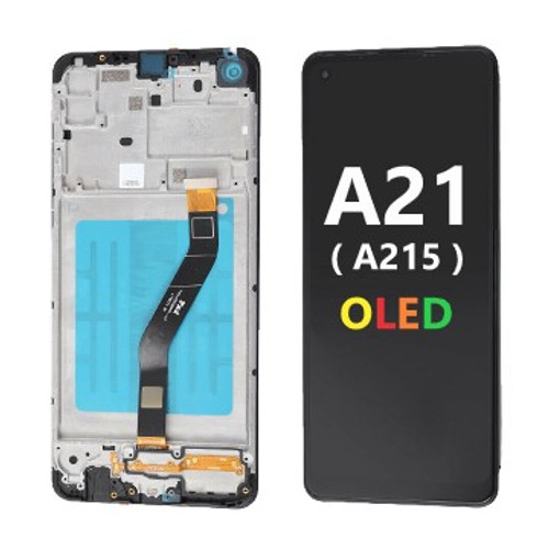 Black, OLED Screen & Digitizer Assembly W/Frame for Samsung Galaxy A21 (A215)
