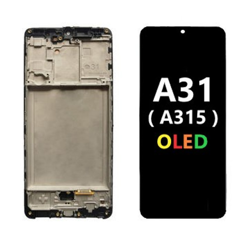 Black, OLED Screen & Digitizer Assembly W/Frame for Samsung Galaxy A31 (A315)