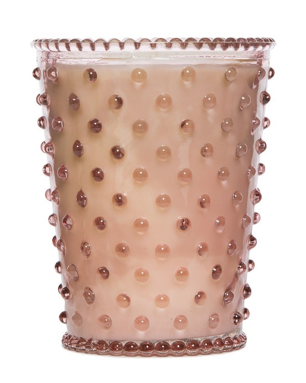No. 45 Coral Hobnail Glass Candle