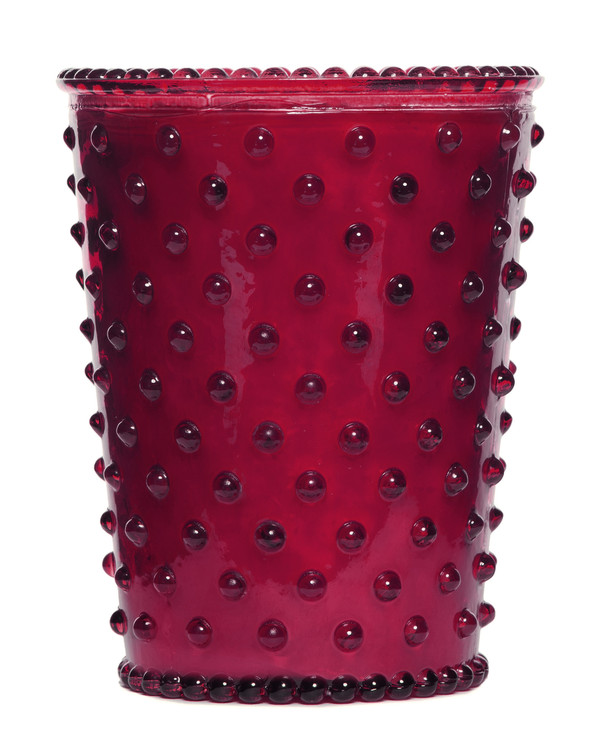 No. 3 Cranberry Hobnail Glass Candle