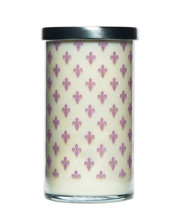 Lavender Printed Glass Candle
