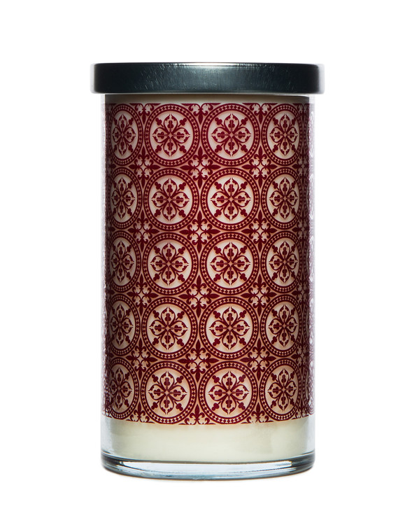 Pomegranate Printed Glass Candle