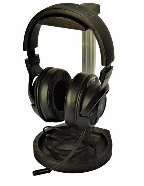 Desktop Headset Holder Stand Hanger Wood and Brushed Aluminum