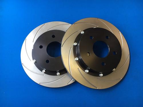 Focus ST Mk2 Rear Brake Discs and Bells Kit (original size) K-Sport Grooves