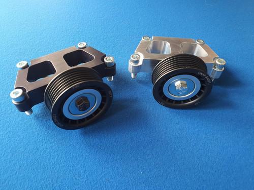 Ford Zetec Black Top Billet Power Steering Delete Bracket and Pulley/Kit