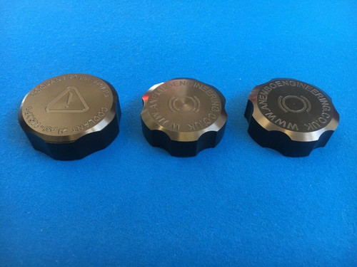 Ford Focus RS / ST Mk2 CNC Machined Billet Tank Cap Cover Set of 3 Anodised Black