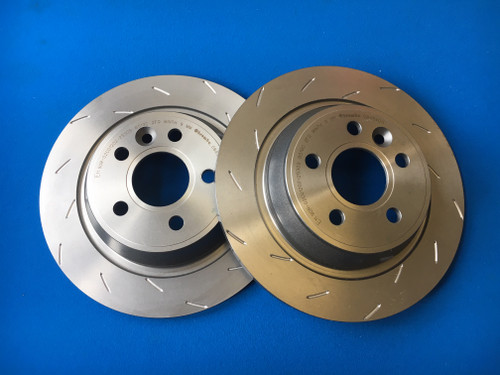 Focus RS Mk2 Front Brake Disc Set Mountune Style Staggered Slot Groove (pair)