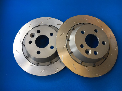 Focus RS Mk2 Rear Brake Discs and Bells Kit (original size) Mountune Style Staggered Slot Grove (Pair)
