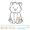 Little bear sitting digital stamp. Black and white only