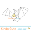 Bat animal digital stamp for card making, scrapbooking and planners.