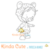 Halloween digital stamp of a kid in a bear costume.