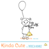Celebration digital stamp with a girl with a balloon and flowers.