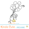 Girl and balloons digital stamp, cute and funny digital stamp. Line art.