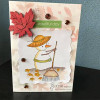 Card made by Lucienne using Snowman with leaf rake.