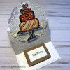 Easel card featuring Wedding cake clear stamp