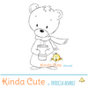 Cute bear holding a cup. Digital stamp for winter cards or planner