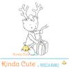 reindeer opening a present digital stamp. Christmas digital stamp.