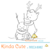 Reindeer building a snowman digital stamp. Line art by Patricia Alvarez