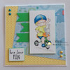 Card made by Monika using Boy riding a tricycle digital stamp.