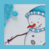 Blue Winter Card | Showcasing Snowman and Marshmallow