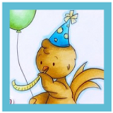 Colorful birthday card   Showcasing Party Chicken