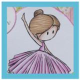 Pink Birthday card with a Ballerina | Showcasing Ballerina Digital Stamp