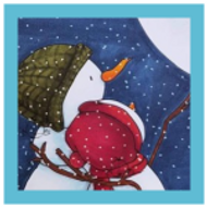 Coloring a full card | Showcasing Snowmen Looking at the Stars