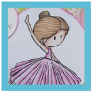Pink Birthday card with a Ballerina | Showcasing Ballerina Digital Stamp