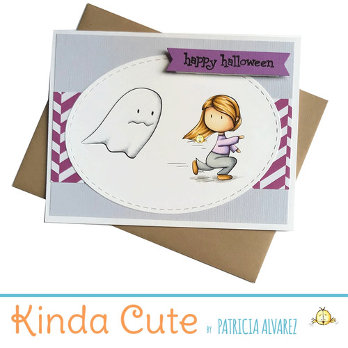 Halloween card with a girl running from a ghost. h278